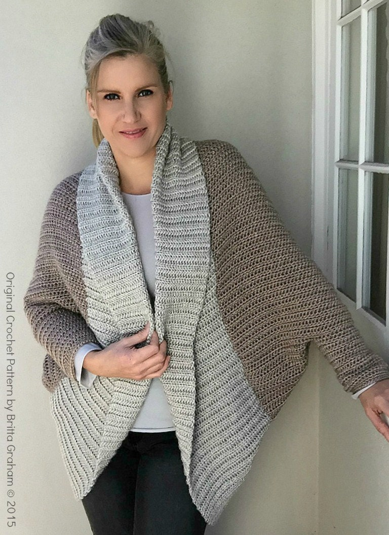 Crochet Shrug Pattern - Oversized Sweater Cardigan Crochet Pattern ...