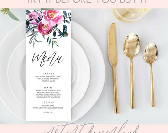 Printable Menu, printable Wedding Menu Template, DIY wedding menu, floral wedding menu, pink menu, purple wedding menu, templett, DOWNLOAD