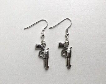 Silver Gun Earrings