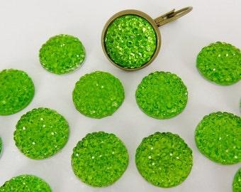 20 acrylic cabochons, Ø12mm, green diamonds