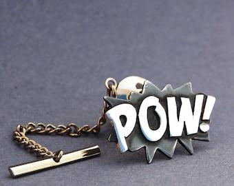 Sterling silver POW tie pin