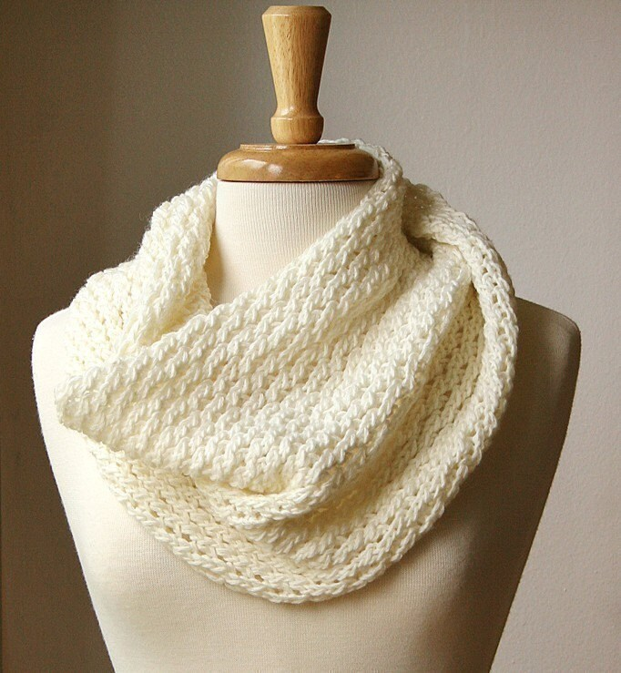 Infinity Circle Scarf Knitting Pattern Snood Loop Bridget Cowl
