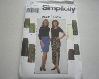Pattern Womens Skirts 3 Styles Sizes 18 to 22 Simplicity 7881