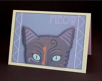 "Meow Cat #1 4.25"" x 6"" Blank Greeting Card"