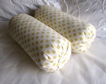 Yellow Squares Bolster pillows 6x14 pair