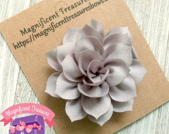 "Silver Lotus Flower Hair Clip - Large Grey Flower Hair Bow - 2.5"" Toddler Flower Barrette - Girl Hair Clippie - Summer Flower Hair Clip"