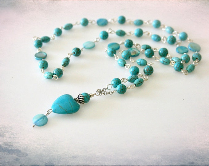 Gemstone Heart Necklace. Turquoise Magnesite & Mother of Pearl. Optional Matching Earrings. Boho Jewelry