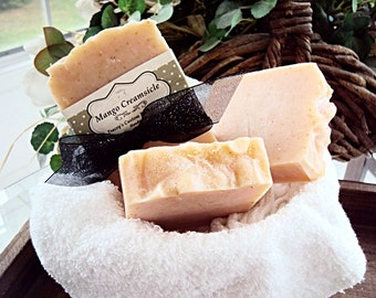 CLEARANCE SALE! Mango Creamsicle Soap, Cold Process Soap, Handmade Soap, Natural Soap, Essential Oils, Mango, Body Soap, Soap Bar