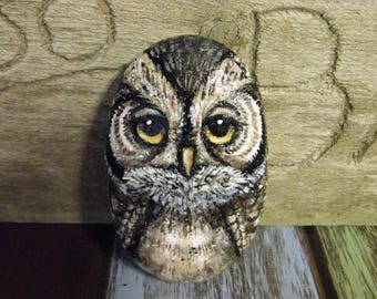 Owl rock art, adorable wise old owl painted on rock