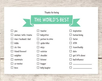 Humorous World's Best checkbox card | Mother's Day card | Father's Day card | Boss's day | Anniversary card | All occasion card