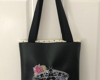 Black vinyl tote bag with moth, hand made tote bag, moth tote bag, vinyl tote bag, floral tote bag, floral bag, moth bag, butterfly bag,