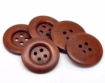 Grand Bouton Brun - 3 boutons en bois de 40mm
