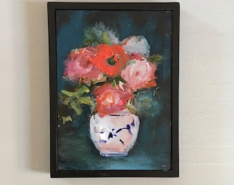 Small Flower Vase Painting  - 5 x 7 Roses and Peonies- canvas panel- Standard Frame - Original- Frame Included -  Collectible - Fine Art