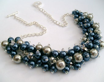 Pearl Beaded Necklace, Bridal Jewelry, Bridesmaid Necklace, Navy and Silver Necklace, Cluster Necklace, Bridesmaid Gift, Custom Colours