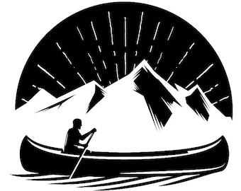 Kayak Logo 9 Kayaking Canoe Whitewater River Rafting Ore Row Rowing Wagon Trip SVG
