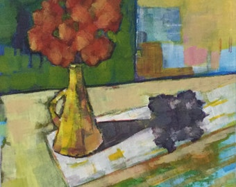 Still life, sunlight, abstract, contemporary painting, acrylic on board, unframed, flowers, 8x8 inches