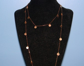 14K Gold Dangle Disc Necklace, 38, 44, 50, 54, 60 inch, Cougar Town Inspired Worn by Jules Cobb, Courtney Cox, Wrapped Double Jewelry Chain