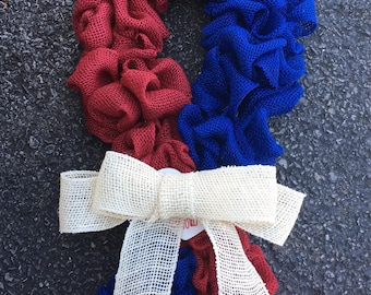 American Flag Ribbon Burlap Wreath