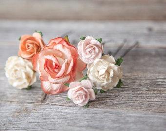 Flower Hair Pins Wedding Pins set of 6 peach cream pink color