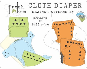 Fresh Bum Pocket Style Cloth Diaper Sewing Pattern - Both sizes: Newborn & Full