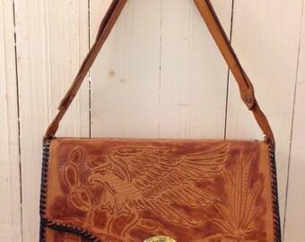 Vintage hand tooled leather handbag | 1970s reversible bag | 70s boho handbag