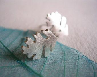 Silver Oak Leaf Stud Earrings
