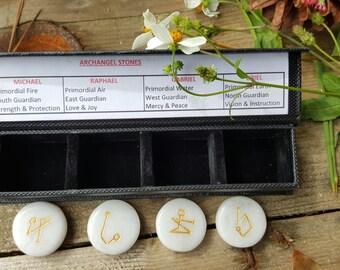Archangel, Gemstone Set, White Agate