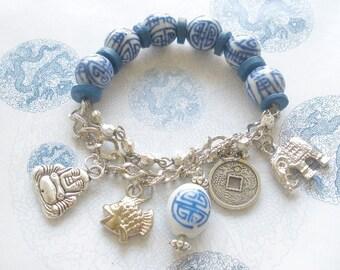 Elephant Buddha Fish Coin Charm Bracelet, Good Luck Charm Bracelet, Oriental Charm Bracelet, Blue white beaded charm bracelet