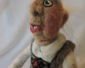 Liederhosen Character, Decorative Needle Felted Figure, Home Décor, Collectable Felted Figures