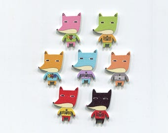 set buttons Fox 3 cm in various colors to choose from, wood