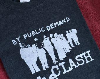 "Men's large blue heather ""The Clash"" t-shirt, silkscreened, cotton blend"