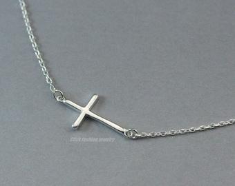 Sterling silver cross necklace, silver sideways cross necklace, tiny silver cross, modern Christian jewelry, little girl gift