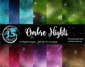 Ombre Night Sky Digital Paper- Galaxy Digital Paper- Multi-Colored Night Sky- Scrapbook Paper Backgrounds- Instant Download Commercial Use