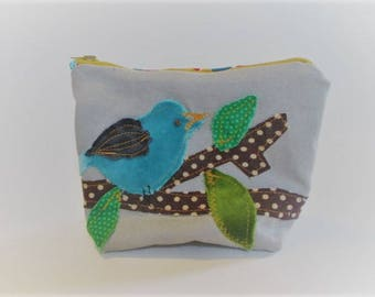 Applique Bird zip pouch