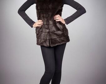 Faux fur vest mink brown striped by ARTFUR