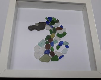 Sea glass picture of a Sea Horse made from Sea glass from the Jurrassic coast in UK