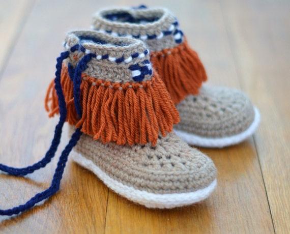 Crochet Pattern Slippers for Children Moccasin Fringe Boots