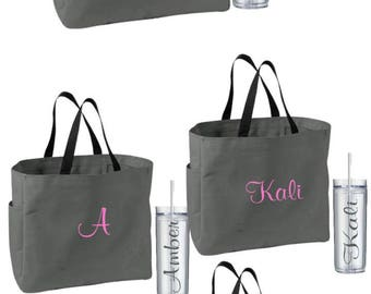 Bridesmaid Gift Personalized Tote Bags and Tumblers Set Personalized Tote Bridesmaids Gift Monogrammed Tote Getting Ready Bag