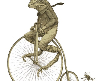 Frog on Bike T-shirt - Men's Penny Farthing Bicycle Tshirt - Tee Shirt - Husband Gift