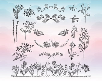 Flower and leaf svg files - Files for DIY inviations - Flower Silhouette Elements - Floral decorations svg - SVG digital download files