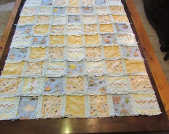 Handmade homemade baby animal camping, arrows, teepee blue, beige and chevron rag quilt, crib sized baby blanket.
