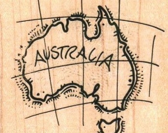 Map Australia   rubber stamps  vacation cling stamp, unmounted or  wood mounted 4905