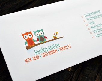 Personalized School Money Envelope for Money and Notes - Owl Design - Personalized School Envelopes - Girls Owl School Envelopes
