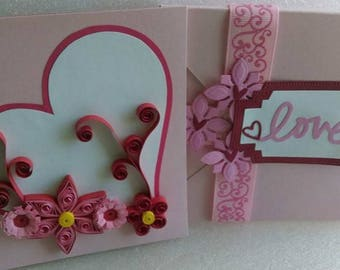 Heart Flower Quilled Greeting Card