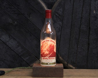 Handmade Recycled Pappy Van Winkle 20 Year Bourbon Bottle Lamp - Reclaimed Wood Base, Edison Bulb, Twisted Cloth Wire, In line Switch, Plug