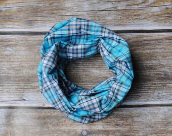 Toddler scarf, baby scarf toddler Infinity Scarf, Plaid Toddler Scarf, Plaid Scarf, Boys Scarf, blue toddler scarf