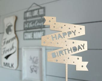Happy Birthday Banner Cake Topper Birthday Cake Topper