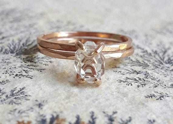 Rose Gold Fill Herkimer Diamond Wedding Set Raw Crystal