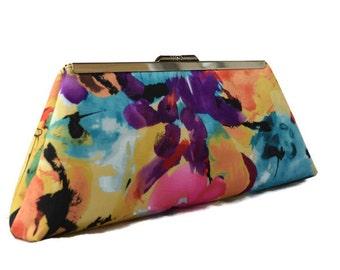 Watercolor floral wedding clutch/ bridal accessory/ Floral clutch/Gift for her/ Wedding clutch purse/ Spring wedding clutch/ Personalized