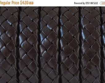 """On Sale NOW 25%OFF Braided 10x6mm Licorice Leather Cord  Brown  8"""" Piece"""